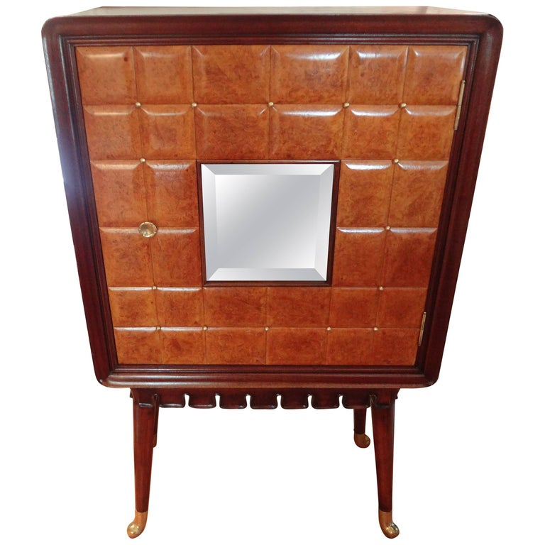 Paolo Buffa Attributed Cabinet with Interesting Brass Hardware, Made in Milan For Sale
