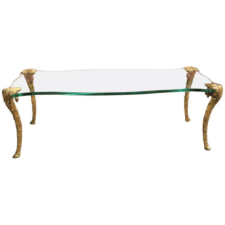 Maison Charles Gilt Bronze and Glass, Mid-Century Coffee Table