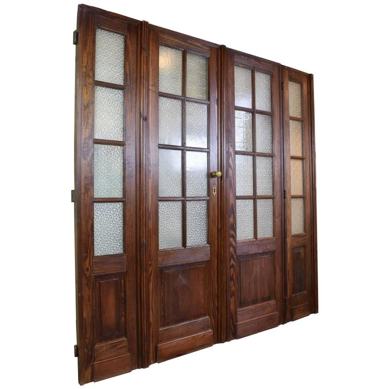 20th century fir bifold french doors with florentine glass 1