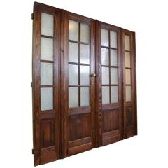 20th Century Fir Bifold French Doors with Florentine Glass
