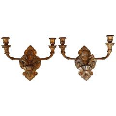 Pair of Louis XV Style Giltwood Sconces