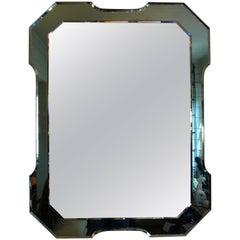 Italian Fontana Arte Style Rectangular Mirror with Green Beveled Border