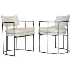 Pair of Chrome Armchairs by Milo Baughman for Thayer Coggin, 1971