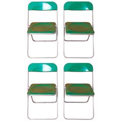 Giancarlo Piretti, Rare Set of Four Green 'Plia' Folding Chairs