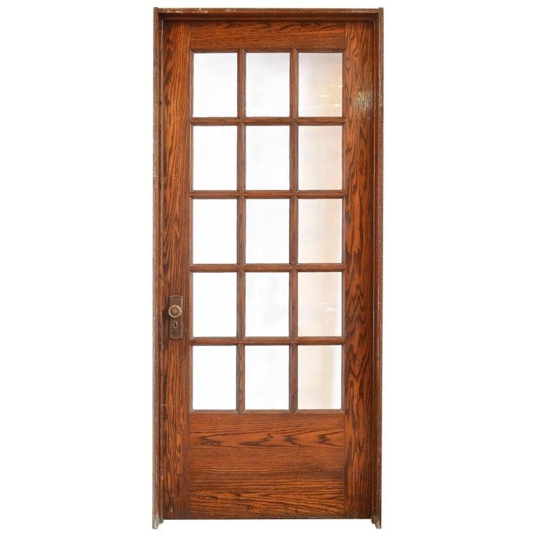 Oak School House Divided Light Door For Sale