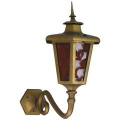 Brass Outdoor Lantern Porch Light Exterior Applique Sconce, 20th Century