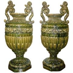 Pair of Impressive Majolica Urns by Jerome Massier Fils, Vallauris, France