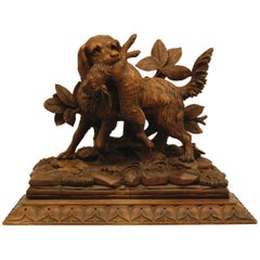Black Forest Carving of Hunting Dog with Rabbit, circa 1850