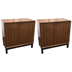 Pair of Mid-Century Modern Walnut Two-Door Chests