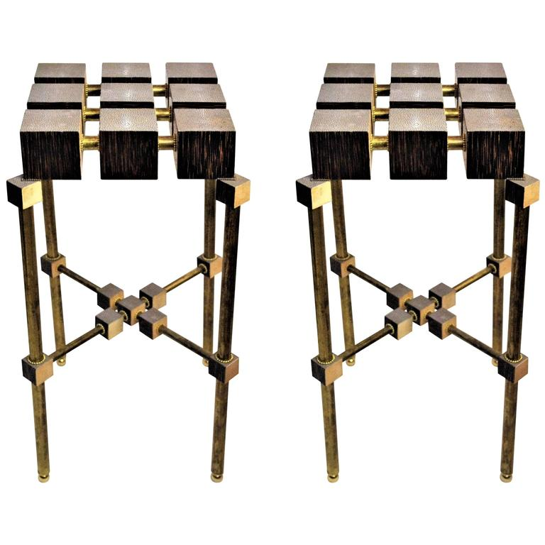 Pair of Luxury Handmade Galuchat High Side Tables For Sale