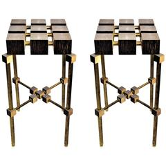 Pair of Luxury Handmade Galuchat High Side Tables