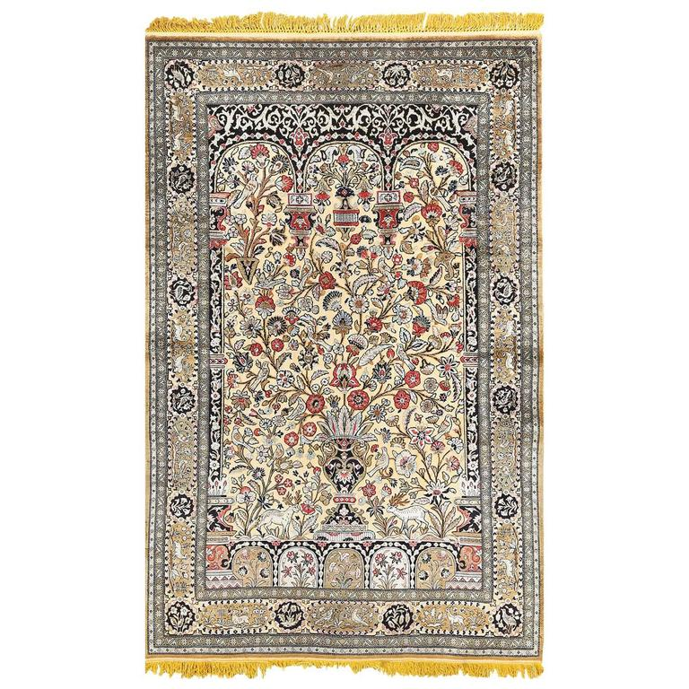 Fine Tree of Life Design Vintage Silk Souf Qum Persian Rug