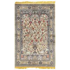 Fine Tree of Life Design Vintage Silk Souf Qum Persian Rug