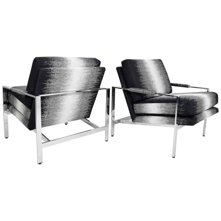 Pair Of Milo Baughman Lounge Chairs In New Upholstery By Romo For Sale