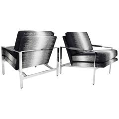 Pair of Milo Baughman Lounge Chairs in New Upholstery by Romo