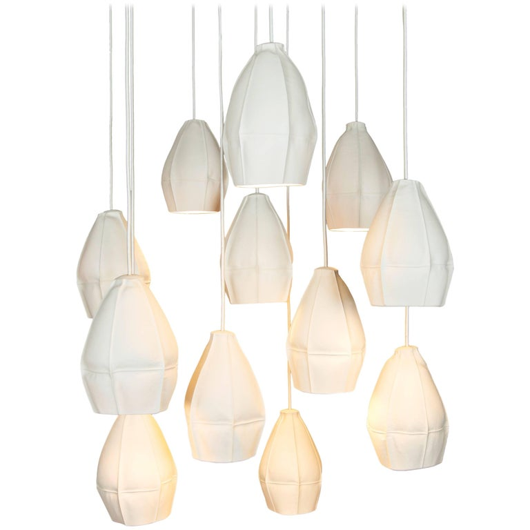 Kawa Pendant Cluster from Souda, Twelve Porcelain Diffusers, Made to Order For Sale