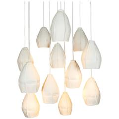 Kawa Pendant Cluster from Souda, Twelve Porcelain Diffusers, Ceramic Chandelier