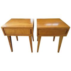 Lovely Pair of Conant Ball Maple Nightstand Tables, Mid-Century Modern