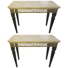 Pair of Ebonized Marble-Top  Consoles Featuring Bronze Greek Key Pattern Design