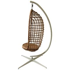 1970s Rattan and Iron Hanging Chair