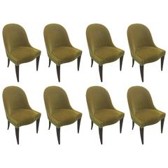 Set of Eight Dining Room Chairs with Scooped Backs Upholstered in Mohair