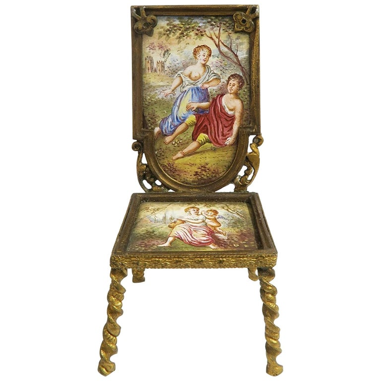 19th Century Viennese Enamel and Bronze Miniature Chair For Sale