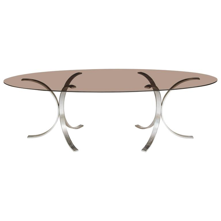 Mid-Century Italian Chrome Dining Table, 1970 Lovely 1970s dining table with chrome legs and oval glass top.