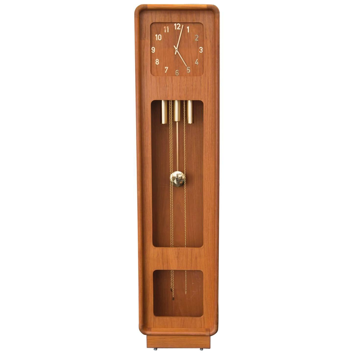 rare teak westminster grandfather clock - Grandfather Clocks