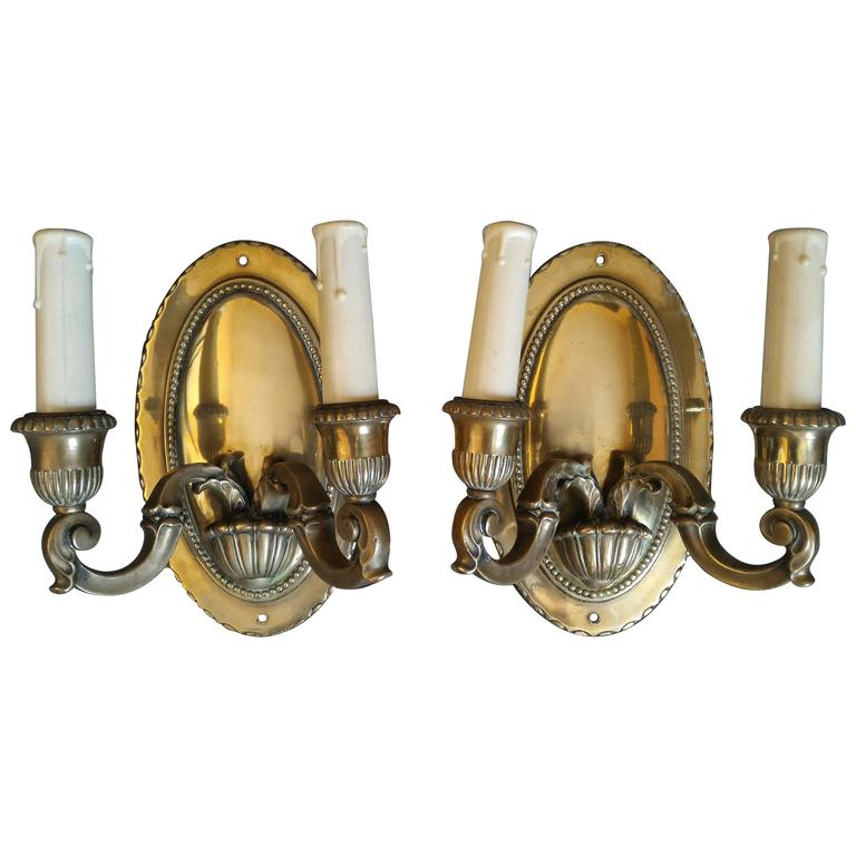 Pair of Neoclassical Bronze Sconces, France  For Sale