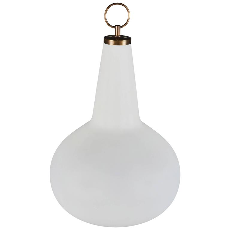 Elegantly Shaped Opaline Glass Table Lamp Attributed to Fontana Arte