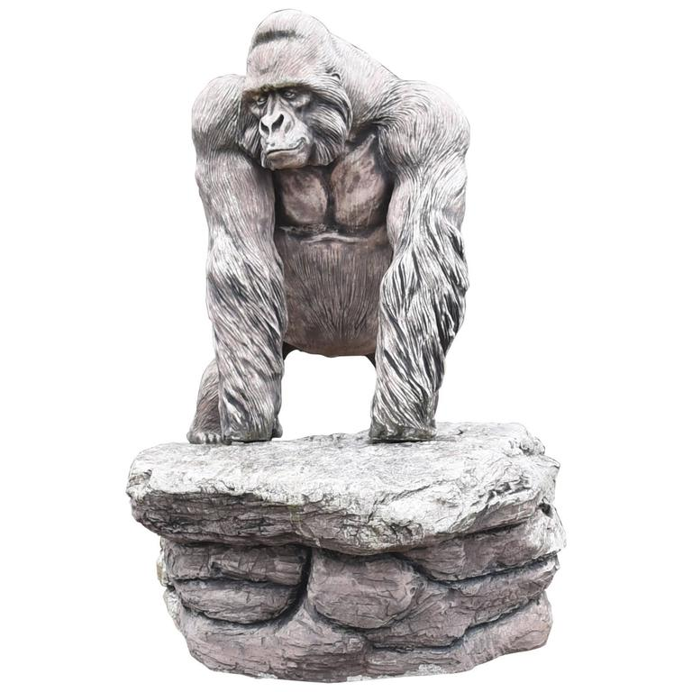Giant Lifesize Stone Gorilla Garden Statue Monkey Ape Art