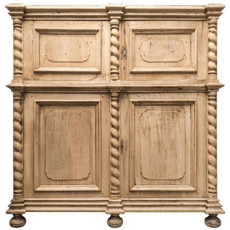 Antique Wood Four-Door Cabinet For Sale