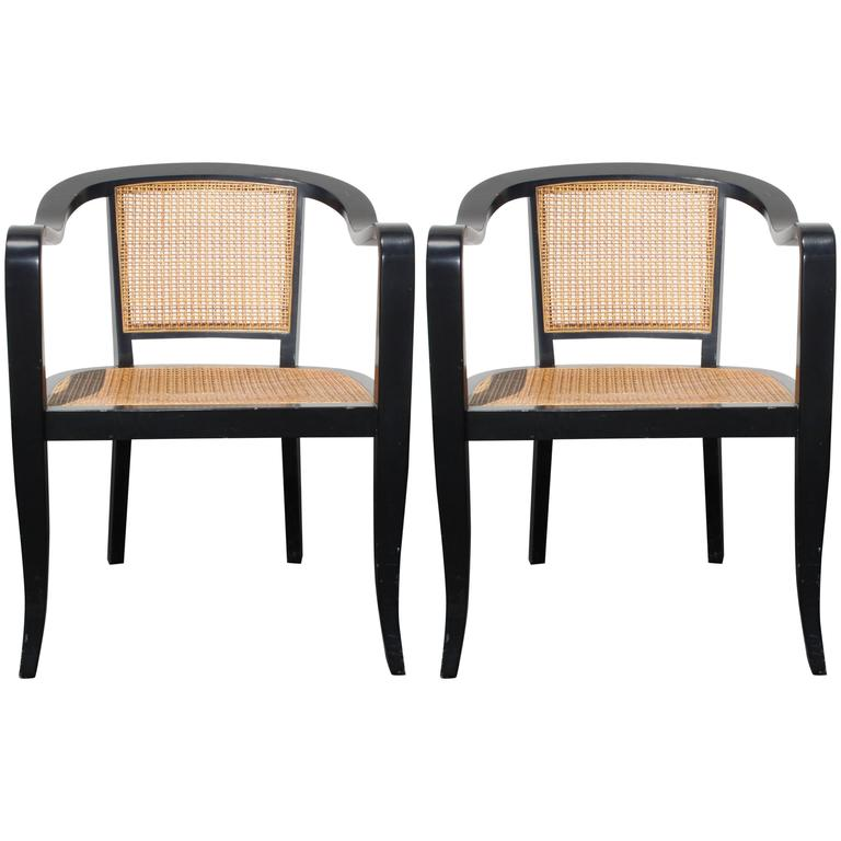 Pair of Edward Wormley for Dunbar Style Caned Armchairs 1