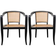 Pair of Edward Wormley for Dunbar Style Caned Armchairs