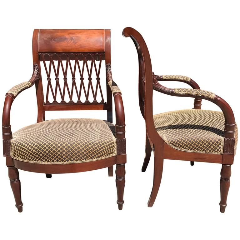 Pair of 18th Century French Mahogany Directoire Arm Chairs