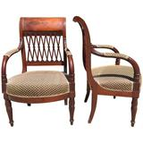French Mahogany 18th Century Directoire Pair of Arm Chairs