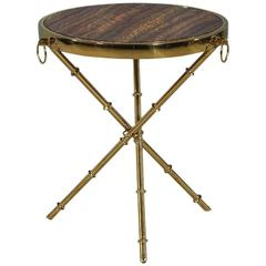Round Marble and Brass Accent Table