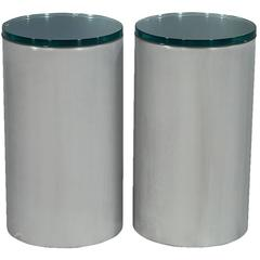 Pair of Cylindrical Brushed Chrome Metal and Glass End Tables