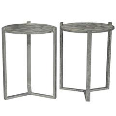 Pair of Grey Agate Stone End Tables