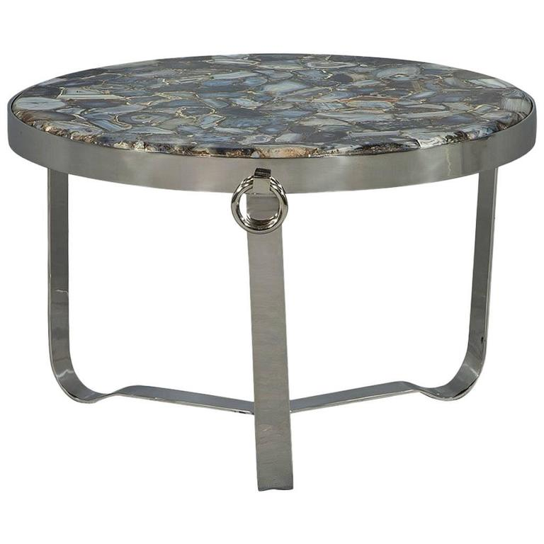 Agate Marble And Brass Round Cocktail Table At 1stdibs