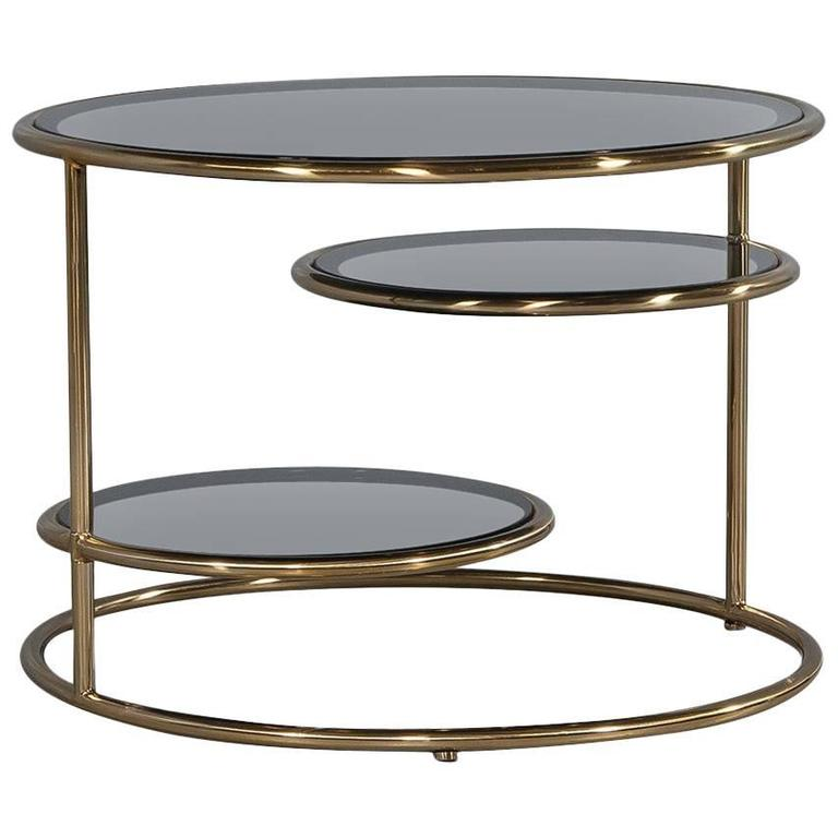 Modern Smoked Glass and Brass Round Cocktail Table