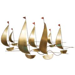 Cutis Jere Style Sailboats Wall Sculpture