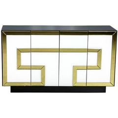 Chic Mirrored Glass Greek Key Cabinet