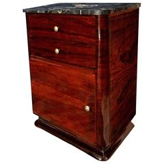 Early 20th Century French Art Deco Rosewood Cabinet With Portoro Marble Top