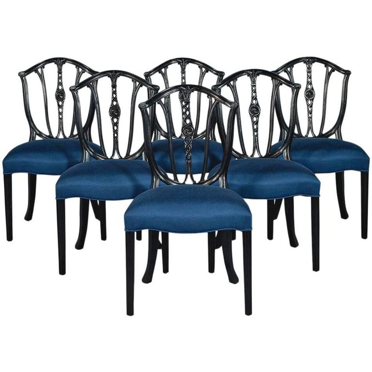 Set of Six Antique Shield Back Dining Chairs in Black