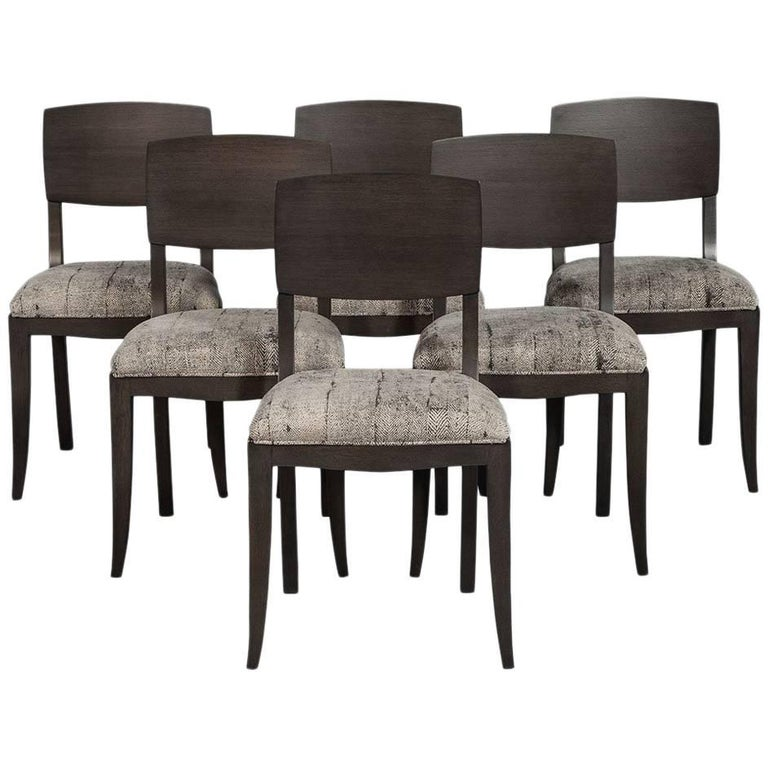 Set of Six Art Deco Dining Chairs in Grey