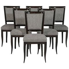 Set of Six Graphic Art Deco Dining Chairs