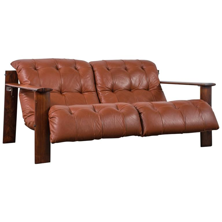 Percival Lafer Rosewood And Distressed Tufted Yellow: Percival Lafer Leather And Rosewood Sofa Or Loveseat