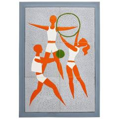 Hungarian Ceramic Tile Picture Depicting Athletes Made by Zsolnay, circa 1960