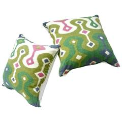 Down Pillow Pair in Darya Ikat by Schumacher